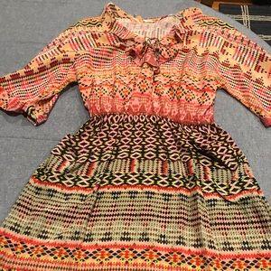 Rebecca Minkoff silk dress in Aztec pattern